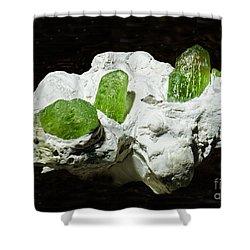 Peridot Crystals Shower Curtain by Millard H. Sharp