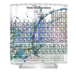 Periodic Table Colorful Liquid Splash Shower Curtain