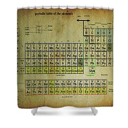 Shower Curtain featuring the mixed media Periodic Table Of Elements by Brian Reaves