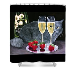 Perrier Jouet Et Le Chat Shower Curtain