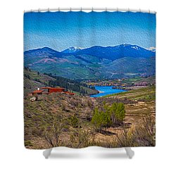 Shower Curtain featuring the painting Perrygin Lake In The Methow Valley Landscape Art by Omaste Witkowski