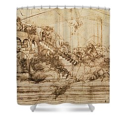 Perspective Study For The Background Of The Adoration Of The Magi Shower Curtain by Leonardo da Vinci