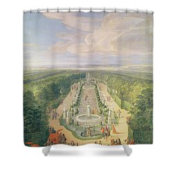 Perspective View Of The Grove From The Galerie Des Antiques At Versailles, 1688 Oil On Canvas Shower Curtain