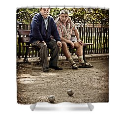 Shower Curtain featuring the photograph Petanque Match / Brive La Gaillarde by Barry O Carroll