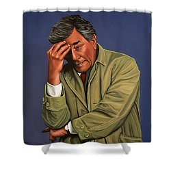 Peter Falk As Columbo Shower Curtain by Paul Meijering