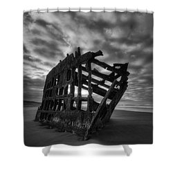Peter Iredale Shipwreck Black And White Shower Curtain