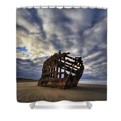 Peter Iredale Shipwreck Sunrise Shower Curtain by Mark Kiver