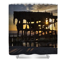 Peter Iredale Shipwreck Sunset Shower Curtain by Mark Kiver