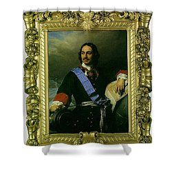 Peter The Great Of Russia Shower Curtain by Paul  Delaroche