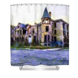Peterboro Castle Ruins Shower Curtain by Priya Ghose