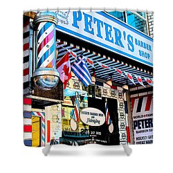 Peter's Barber Shop Circa 1961 Shower Curtain by Nina Silver