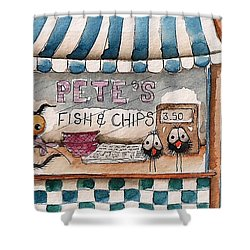 Pete's Fish And Chips Shower Curtain by Lucia Stewart