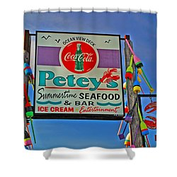 Petey's Seafood Shower Curtain by Joann Vitali