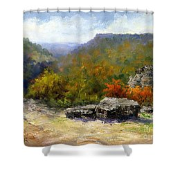 Petit Jean View From Mather Lodge Shower Curtain by Virginia Potter