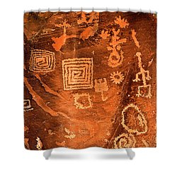 Petroglyph Symbols Shower Curtain by Phyllis Denton