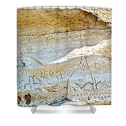Petroglyphs At Petroglyph Point In Lava Beds Nmon-ca Shower Curtain