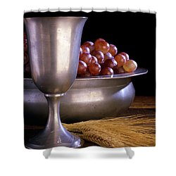 Pewter Chalice Grapes Wheat Communion Shower Curtain
