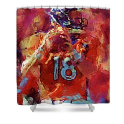Peyton Manning Abstract 3 Shower Curtain by David G Paul