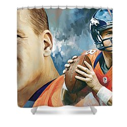 Peyton Manning Artwork Shower Curtain