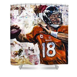 Peyton Manning Shower Curtain by Mark Courage