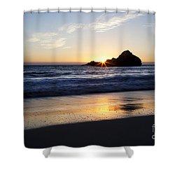 Pfeiffer Beach Sunset Shower Curtain by Jenna Szerlag