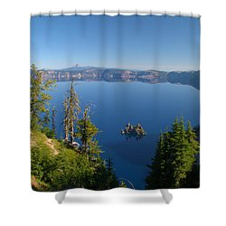 Phantom Ship Island In Crater Lake Shower Curtain by Brian Harig