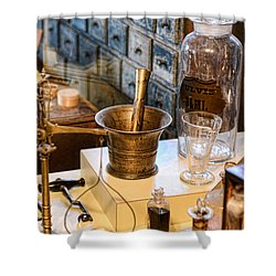 Pharmacist - Brass Mortar And Pestle Shower Curtain by Paul Ward