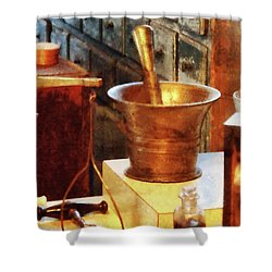 Pharmacist - Brass Mortar And Pestle Shower Curtain by Susan Savad