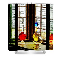 Pharmacist - Colorful Bottles In Drug Store Window Shower Curtain by Susan Savad