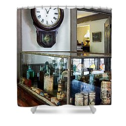 Shower Curtain featuring the photograph Pharmacist - Corner Drug Store by Susan Savad