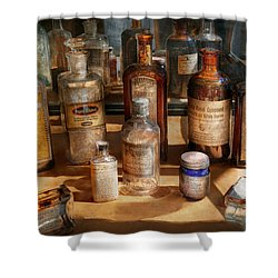 Pharmacist - Digestable Shower Curtain by Mike Savad
