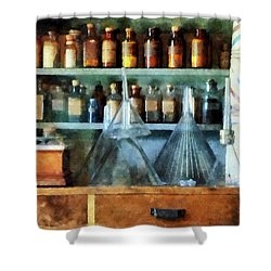 Pharmacist - Glass Funnels And Barber Pole Shower Curtain by Susan Savad