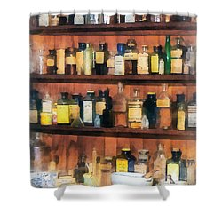 Shower Curtain featuring the photograph Pharmacist - Mortar Pestles And Medicine Bottles by Susan Savad