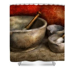 Pharmacist - Pestle And Son  Shower Curtain by Mike Savad
