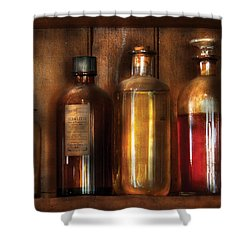 Pharmacist - Various Elixirs  Shower Curtain by Mike Savad