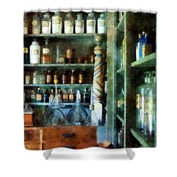 Shower Curtain featuring the photograph Pharmacy - Back Room Of Drug Store by Susan Savad