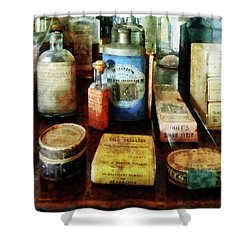 Shower Curtain featuring the photograph Pharmacy - Cough Remedies And Tooth Powder by Susan Savad
