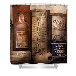Pharmacy - Cures For The Bowels Shower Curtain by Mike Savad