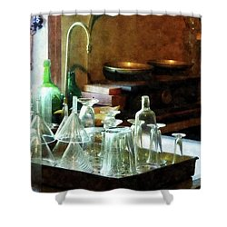 Pharmacy - Glass Funnels And Bottles Shower Curtain