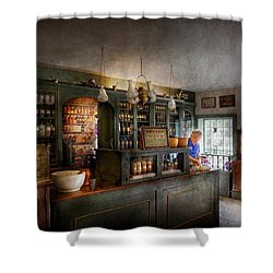 Pharmacy - Morning Preparations Shower Curtain by Mike Savad