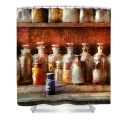 Pharmacy - The Medicine Counter Shower Curtain by Mike Savad
