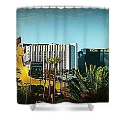 Pharoh Of Vegas Shower Curtain by John Malone