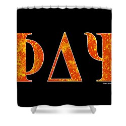 Shower Curtain featuring the digital art Phi Delta Psi - Black by Stephen Younts