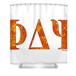 Shower Curtain featuring the digital art Phi Delta Psi - White by Stephen Younts