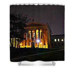 Philadelphia Art Museum  At Night From The Rear Shower Curtain by Bill Cannon