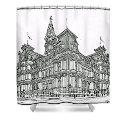 Philadelphia City Hall 1911 Shower Curtain by Ira Shander