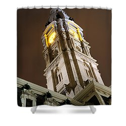 Philadelphia City Hall Clock Tower At Night Shower Curtain