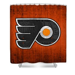 Philadelphia Flyers Hockey Team Retro Logo Vintage Recycled Pennsylvania License Plate Art Shower Curtain