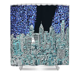 Philadelphia Map Panorama Shower Curtain
