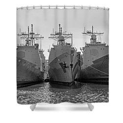 Philadelphia Navy Yard B - W  Shower Curtain by Susan  McMenamin